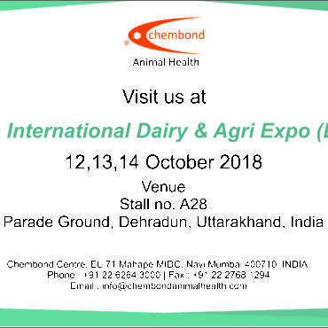 Chembond Animal Health would be participating in 1st Doon International Dairy & Agri Expo (DIDA) 2018